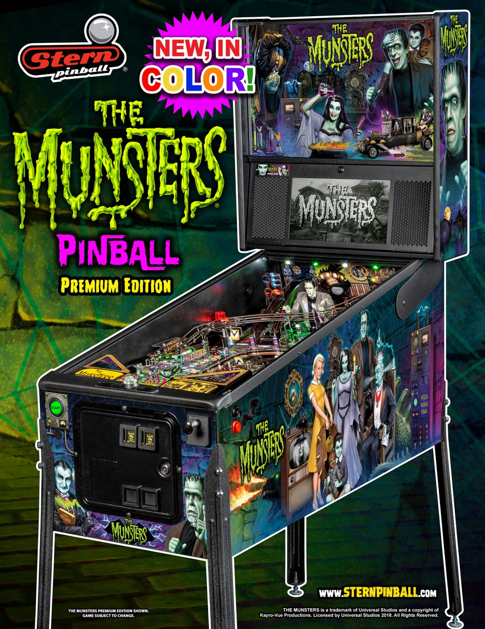 Stern Munsters Premium COLOR Pinball Machine